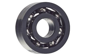 xiros® radial deep groove ball bearing, xirodur S180, stainless steel balls, cage made of PA, mm, black for visible parts