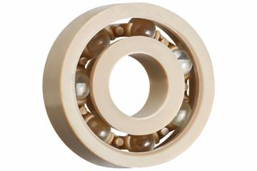 xiros® radial ball bearings, xirodur A500, glass balls, cage made of PEEK, mm